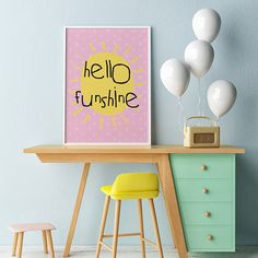 Dinky Mix Pink 'Hello Funshine' Bright printable nursery decor art print. Available as an Instant Download for Wall Art. Typography Posters and prints perfect baby gift for a kids wall shelf or as a wall hanging. Inspired by African print to brighten up their day.