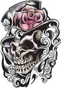 Skull in a hat tattoo design