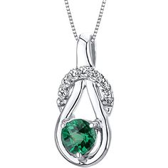 Revoni 0.50ct Round Cut Sterling Silver Emerald Pendant with Silver Necklace