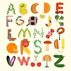 - Millions of Creative Stock Photos, Vectors, Videos and Music Files For Your Inspiration and Projects. Food Alphabet, Alphabet Design, Creative Lettering, Lettering Styles, Food Typography, Typography Design, Alphabet Photography, Kitchen Posters, Name Art