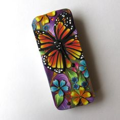 Monarch Butterfly Slide Top Tin, Sewing Needle Magnetic Pin Box ,Polymer Clay Covered Tin, Magnetic Needle Case by Claybykim on Etsy