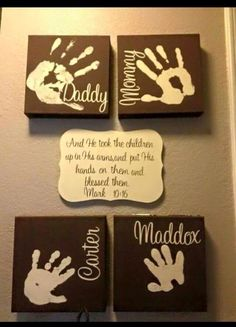 Love this idea ! Maybe even decorative last name in the middle (: Family Crafts, Baby Crafts, Family Art Projects, Family Canvas, Family Wall, Family Signs, Family Hand Prints, Kids Prints, Homemade Canvas Art