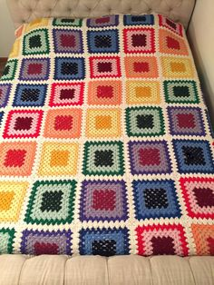 90 x 84 King Queen Size Granny Square Crochet Blanket Afghan
