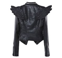 winged faux leather jacket -> la quiero!