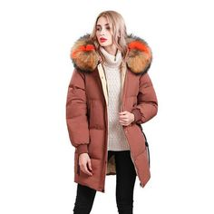 b98b9243c4db5 Large Real Natural Raccoon Fur Collar 2018 New Winter Jacket Women White  Duck Down Jacket Hooded