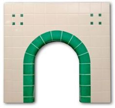 Clarence Arch tiled fireplace insert Art Deco Fireplace, Tiled Fireplace, Fireplace Inserts, Hearth, Color Blocking, The Originals, Fireplaces, Modern, Style