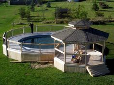Having a pool sounds awesome especially if you are working with the best backyard pool landscaping ideas there is. How you design a proper backyard with a pool matters. Above Ground Pool Landscaping, Above Ground Pool Decks, Backyard Pool Landscaping, In Ground Pools, Gazebo On Deck, Gazebo With Fire Pit, Garden Gazebo, Backyard Gazebo, Cottage Exterior