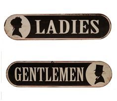 Ladies & Gents Vintage Style Metal Sign Set | Victorian Style | Vintage Inspired | Metal Sign | Bathroom Decor | Antique Farmhouse Style | Fixer Upper Style | cottage