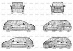 Vector illustration with wire design of French car Citroen