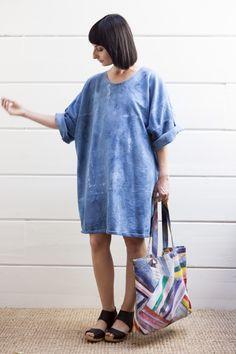 ERMIE Hand-Dyed Indigo Sweatshirt Dress, & San Jacinto Tote (available at PAOM).   Model: Natalia Hawe Photo: Maggie Carson Romano