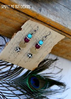 These are Beautiful Turquoise, Gemstone and Rhinestone Dangle Earrings that will be the Perfect touch to any outfit. Little Brass Discs add the