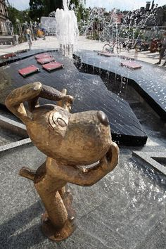 Reksio Fountain - a beloved cartoon character from Bielsko-Biala, Poland
