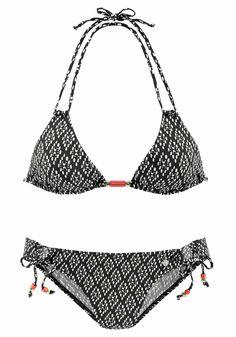 75992e1fe69d75 online kaufen bei www.modeonlinemarkt.de. Damen LASCANA Triangel-Bikini mit  Zierperlen schwarz | 04893865811531