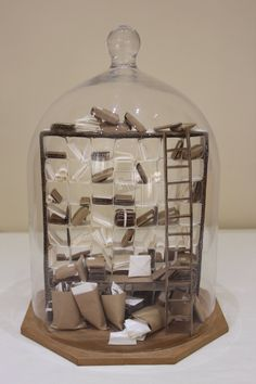 Post office sorting room by on DeviantArt Glass Dome Display, Glass Domes, Cloche Decor, Jar Art, The Bell Jar, Miniature Rooms, Modern Dollhouse, Decorated Jars, Apothecary Jars