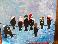 Winter Painting, Winter Art, Christmas Paintings, Christmas Art, Tole Painting, Painting & Drawing, Easy Painting For Kids, Acrylic Painting Inspiration, 4th Grade Art