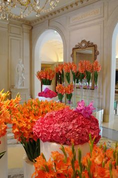 Gorgeous flowers in the lobby of the George V, Paris.