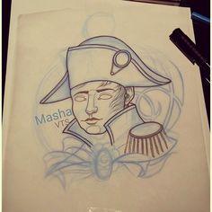 """32 kedvelés, 1 hozzászólás – Masha Verovitch (@masha_verovitch) Instagram-hozzászólása: """"#sketch #sketchtattoo #tattoosketch #dessin #napoleon #napoleontattoo #france #corse #bonaparte…"""""""