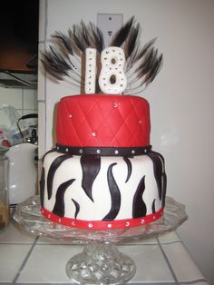 LOVE this Zebra Cake design. I'd go hot pink instead of red. But if I was having a birthday party for myself, this is what I'd make! 18th Birthday Party, Birthday Ideas, Birthday Cakes, 18 Birthday Party Decorations, 18th Cake, Skate Party, Sweet Cakes, Cake Creations, Food Design