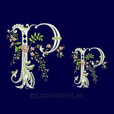 Floral Monogram Initial P Machine Embroidery Design verified design wedding alphabet clothes decor o Embroidery Software, Machine Embroidery Patterns, Embroidery Techniques, Embroidery Letters, Learn Embroidery, Embroidery Fonts, Monogram Fonts, Monogram Initials, Monograms