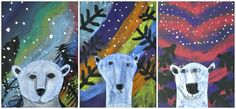 Polar Bears with Northern Lights. winter. animals