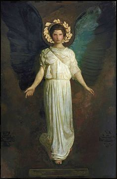 "Abbott H. Thayer ""A Winged Figure"" 1904 Model: Gladys Thayer (daughter) Oil and canvas; gold leaf on paper Freer Gallery of Art, Washington D. Abbott Handerson Thayer [American artist, naturalist and teacher. Angels Among Us, Angels And Demons, I Believe In Angels, Pre Raphaelite, Guardian Angels, Classical Art, Angel Art, Sacred Art, Christian Art"