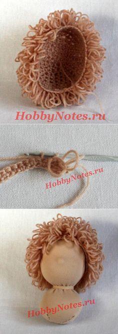 Кудрявый паричок для куклы, вязанный крючком | HobbyNotes.ru — Заметки о хобби