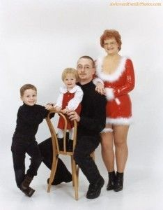 Funny christmas lady with her family