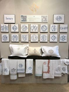 Matouk quick ship monogram service at NY Now 2018 Monogram Bedding, Apartment Decorating On A Budget, Bedding Master Bedroom, Wedding Stationary, Diy Home Improvement, Home Renovation, Luxury Bedding, Crochet, Sweet Home