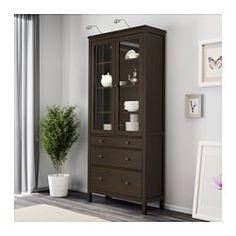 """HEMNES Glass-door cabinet with 3 drawers, black-brown - 35 3/8x77 1/2 """" - IKEA"""