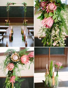 protea flower arch - like the green/white/coral colour palette Protea Wedding, Floral Wedding, Wedding Flowers, Bouquet Wedding, Green Wedding, Diy Wedding Decorations, Ceremony Decorations, Flower Decorations, Wedding Show