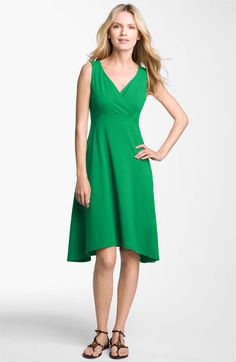 Eileen Fisher Surplice V-Neck Jersey Dress in emerald originally $148 now $98
