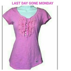 LAST DAY Pink Hollister Top ($10)  Used in good condition This is a pic of the actual item, I have removed the background. Hollister Tops