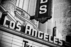 Los Angeles Theatre Neon Marquee - Vintage Neon Sign - Downtown LA - Retro Home Decor - Black and White Wall Art - 8X12 Fine Art Photograph