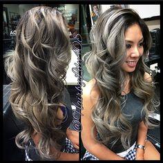 Grey hair, granny hair, curls, long hair.