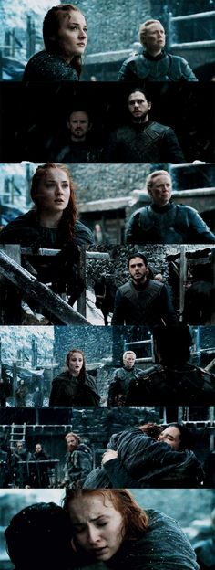Jon and Sansa. There aren't any happy moments in GoT so this scene was so ridiculously special. I loved it!