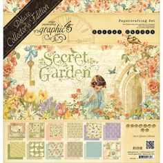 "Graphic 45 Deluxe Collector's Edition Pack 12""X12"" Secret Garden / Colección Deluxe Secret Garden Pad de Papeles de 30.48x30.48cm + Chipboards + Stickers 30.48 x 30.48cm"
