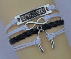 Believe in infinity bracelet bracelet wish bone by endlesslovegift, $5.75