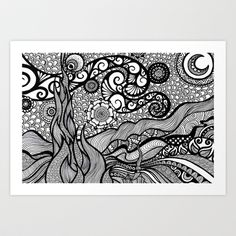starry night doodled Art Print by goyye - $12.48