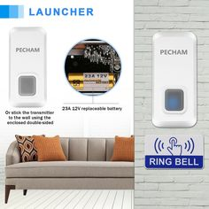PECHAM Wireless Doorbell Chime Kit Remote Button Operating at 1000ft Range with 55 Chimes LED Indicator