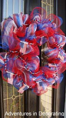 After being inspired by the mesh wreaths that popped up around Easter (thanks to Kristen's awesome tutorial ), I decided to tak. Patriotic Wreath, Patriotic Crafts, Patriotic Decorations, July Crafts, 4th Of July Wreath, Holiday Wreaths, Holiday Crafts, Holiday Fun, Holiday Ideas