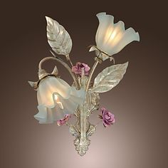 Country Style Wall Light with 2 Lights Floral Design - USD $ 99.99