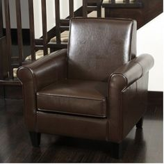 Christopher Knight Home Freemont Leather Brown Club Chair   Overstock™  Shopping   Great Deals On Christopher Knight Home Living Room Chairs