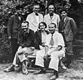 Ghirshmans team in Sialk in 1934; seated from R to L: Roman Ghirshman, Tania Ghirshman, and Dr. Contenau.