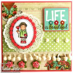 Both Sides of the Paper: Life is Beautiful - Mini Magnolia Monday! http://magnoliastamps.us/store2/mini-232-tilda-brings-flower-1/ #cards