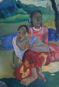 Le donne di haiti: libera interpretazione di Gauguin. Misure 35 x 45. olio su cartone ondulato.