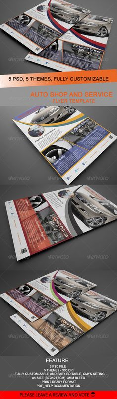 Auto Shop And Service Flyer Templates  #GraphicRiver         Flyer template auto shop and service, I was inspired by a workshop that was in my town, and I try to make automotive-themed flyer, which is getting increasingly prevalent 	 Features : 5 PSD files CMYK Fully Customizable A4 Size (30.3×21,6cm with 3mm bleed) 5 themes Super easy to customize and editable logo Work organized in folders Included : Pdf_documentation  	 Fonts info: Myriad Pro:  .myfonts /fonts/adobe/myriad/ Arial…