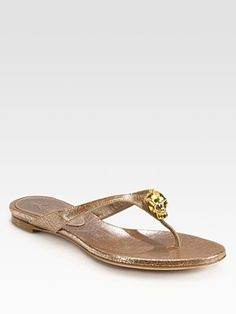 70a487b035ba from J.Crew · Alexander McQueen - Metallic Leather Skull Thong Sandals -  Saks.com