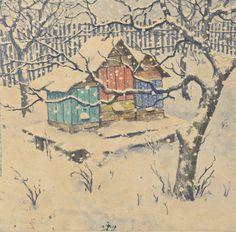 Šimon František Tavík (1877-1942)   Zasněžené úly, 1917   Aukce obrazů, starožitností   Aukční dům Sýpka