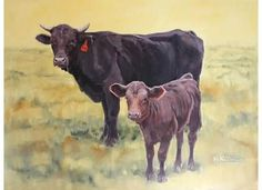 Spring Calf - Animal/Cow Oil Painting by Susan Nall
