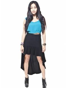 """""""mullet skirt"""" i am obsessed w/ conceptually. short in the front and long in the back."""